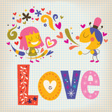 Love. Word Love lettering girl and boy in love Stock Photos