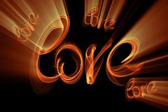 Love  word lettering written with fire flame or smoke on black background.  Royalty Free Stock Images