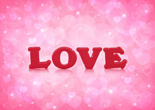 Love word on light pink heart bokeh background Stock Photography