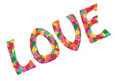 Love word made from flowers Royalty Free Stock Images
