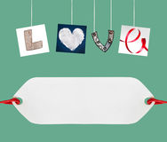Love word made of four different objects Stock Photo