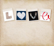 Love word made of four different objects Royalty Free Stock Photography