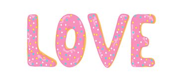 Love word made out of donuts letters vector illustration