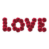 Love word made from red roses Stock Photos