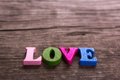 Love word made of wooden letters Royalty Free Stock Photos