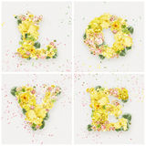 Love word made of yellow flowers Royalty Free Stock Image