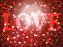 Love Word Means Lovers Fondness And Devotion. Love Word Showing Heart Romance And Passion stock illustration