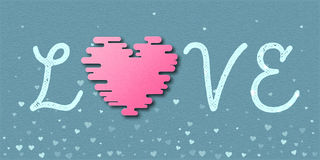 Love word with pink heart card. Stock Photo