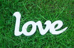 Love word in retro style on green grass background. Concept Stock Photos