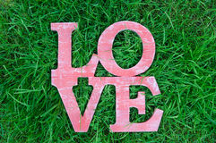 Love word in retro style on green grass background. Concept Stock Photography