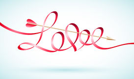 Love word ribbon with Cupids arrow Stock Photo