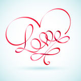 Love word ribbon in a shape of a heart Stock Images
