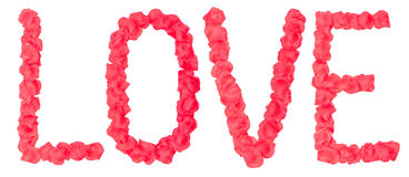 Love word from rose petals Royalty Free Stock Photography