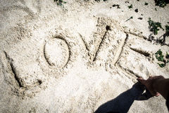Love word in the sand. Love word written in the sand at the beach Stock Photography