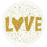 Love word  on white. Gold glitter texture. Royalty Free Stock Photo