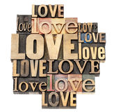 Love word in wood type Royalty Free Stock Photo