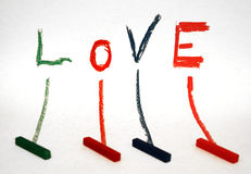 Love. Word 'love' written with colors Stock Image