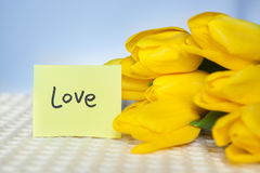 Love word with yellow tulips flowers on blue background Royalty Free Stock Photo