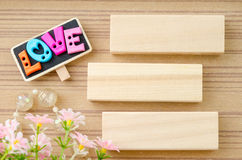 LOVE wording and blank wooden tag. Love concept. Stock Photography