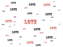 Love words. Illustration with love words written in red and black color . Useful for greeting cards, postcards or backgrounds Royalty Free Stock Photo