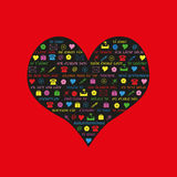 Love words. On a heart, vector illustration Royalty Free Stock Photography