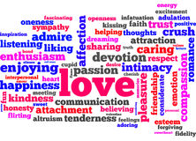 Love words. When you think of real love... these are the right keywords Royalty Free Stock Photos
