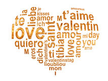Love words in a golden heart Stock Image