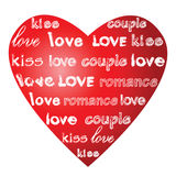 Love words on a heart. Royalty Free Stock Photo