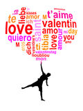 Love words in a heart, child silhouette Stock Photos