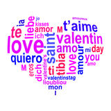 Love words in a heart Stock Image