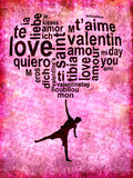 Love words in a heart and silhouette of a child Royalty Free Stock Photography