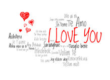 Love words I love you in different language of the world with love hearts Royalty Free Stock Photos