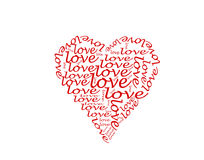 Love words inside heart Stock Photography