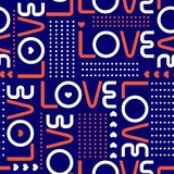 Love words, and mini hearts with line of circle polka dots in modren style valentines mood Seamless pattern design for fashion ,. Love words, and mini hearts vector illustration