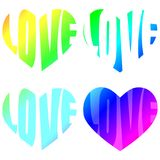 Love Words Rainbow Heart Shapes. Valentines day heart shapes and love words written on rainbow spectrum colors Stock Images