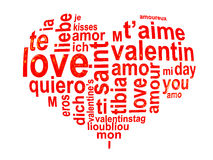 Love words in a red heart isolated on white Royalty Free Stock Photos