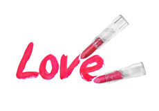 Love words written by red lipstick Stock Photos
