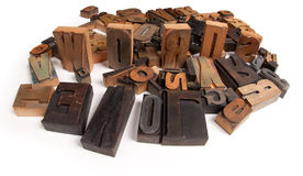 Love words. Love and Words written among wooden typescript letters Royalty Free Stock Images