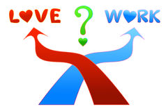 Love or Work. If this is you, what would you choose between love and work Stock Photo