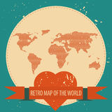 Love the world. Vector background illustration of Earth made of hearts pattern. Retro vintage map of the world Stock Photo