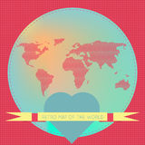 Love the world. Vector background illustration of Earth made of hearts pattern. Retro vintage map of the world. For ui, web games, tablets, wallpapers, and Royalty Free Stock Image