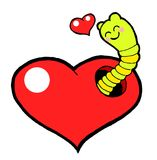 Love worm. Sweet love worm with lovely heart Stock Images