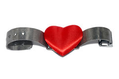 Love wristwatch. Wristwatch with red heart instead of clock plate isolated on the white. Steel wristlet Stock Photo
