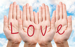 Love writing on hands Stock Image