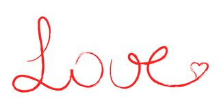 Love written. Red handwritten text love with heart vector illustration