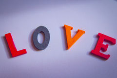 Love written in colorful letters Royalty Free Stock Photos
