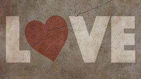 Love Written on a Cracked Wall Royalty Free Stock Photography