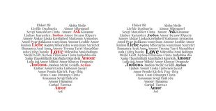 Love written in different languages, Heart Design, Wall Decals stock illustration