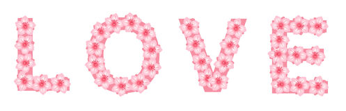 Love Written With Flowers Royalty Free Stock Photography