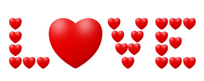 Love written by hearts Stock Photo